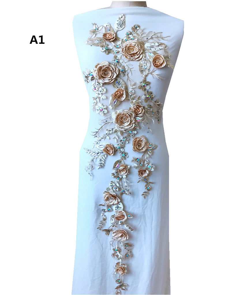 LARGE Stunning Bodice Floral Embroidered Beaded Lace Applique Trims Motif 3D Flower Lace Patch sew on Bridal Wedding Evening Dress Gown Trim