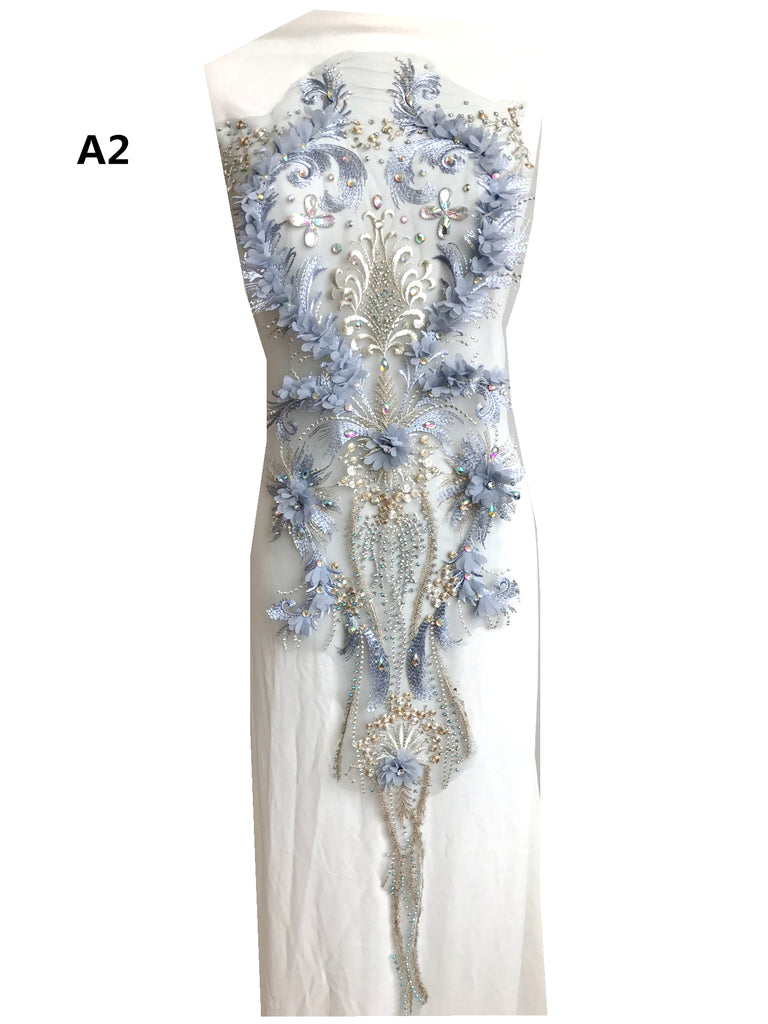 Bodice Rhinestone Applique Heavy Beads Motif Diamante Embroidery Floral Lace Lace Applique Bridal Gowns Applique Full Bodice Applique Patch
