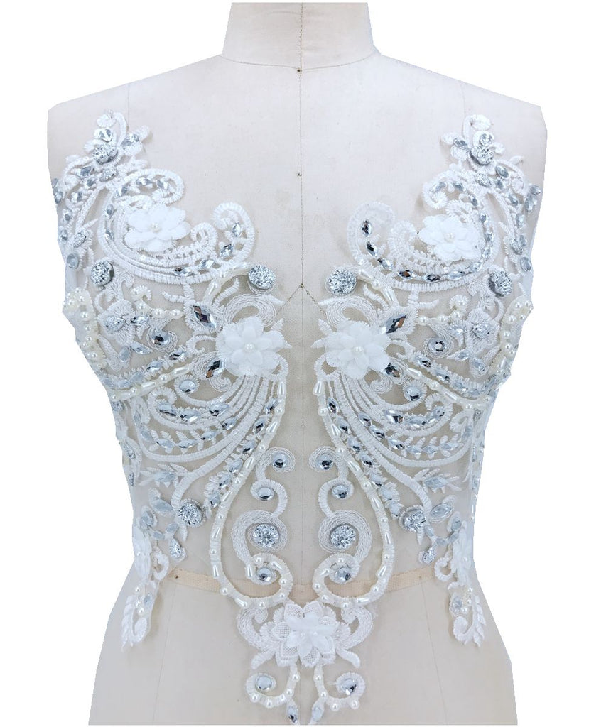 Bridal Bodice Beaded Embroidered Heavy Beads Applique Vintage Wedding Dress Lace Stunning Sequin Beaded Floral Lace Applique DIY Sewing