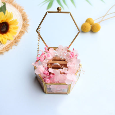 Copper Jewelry Box Ring Box Wedding Ring Box Jewelry Box Engagement Ring Box Ring Bearer Box, Glass Ring Box with Preserved flowers holders