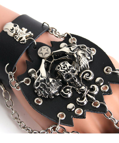 Black Punk Rave Skull Rock Style Gothic steasmpunk Men Bracelet Glove Rock Steam Fetish leather Skull spike cuff-one glove