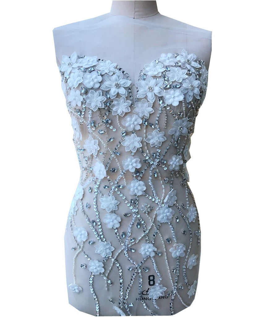 Heavy Crystal beaded large applique Pearl Beads Embroidery Lace Applique Bodice Applique Motif Sewing on Bridal Wedding Dress Evening Dress