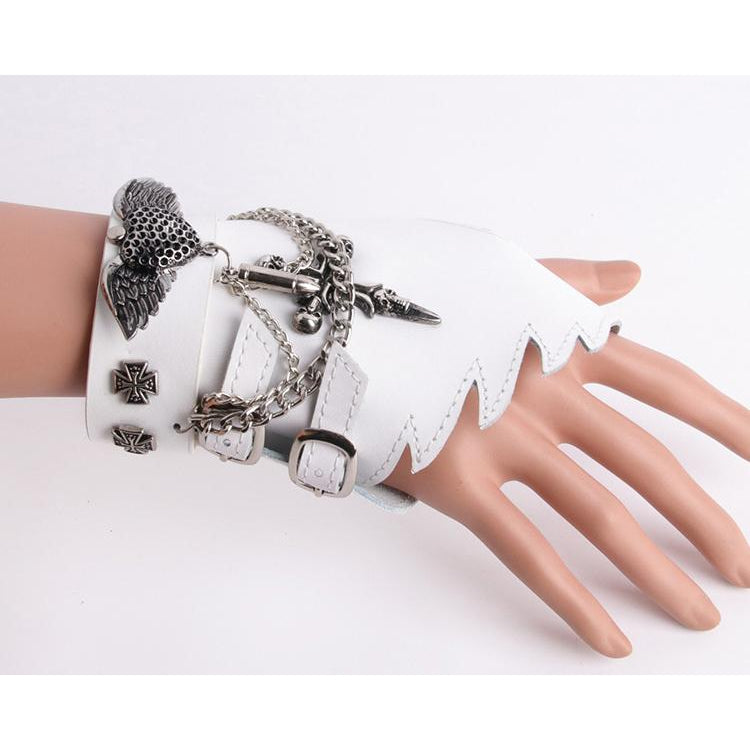 Hip-Hop Runway Punk Skull Rocker Fingerless Sparkling Stud Biker Rider Dancing Performance Gloves Fingerless Glove with metal studs chains
