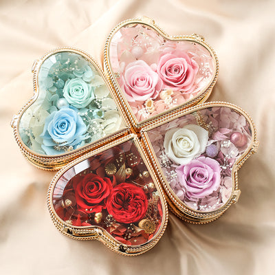 Preserved Rose Flower Heart Shape Vintage Engagement Wedding Ring Box DIY Engagement Glass Box Wedding Gift Jewelry Box Valentine's gift
