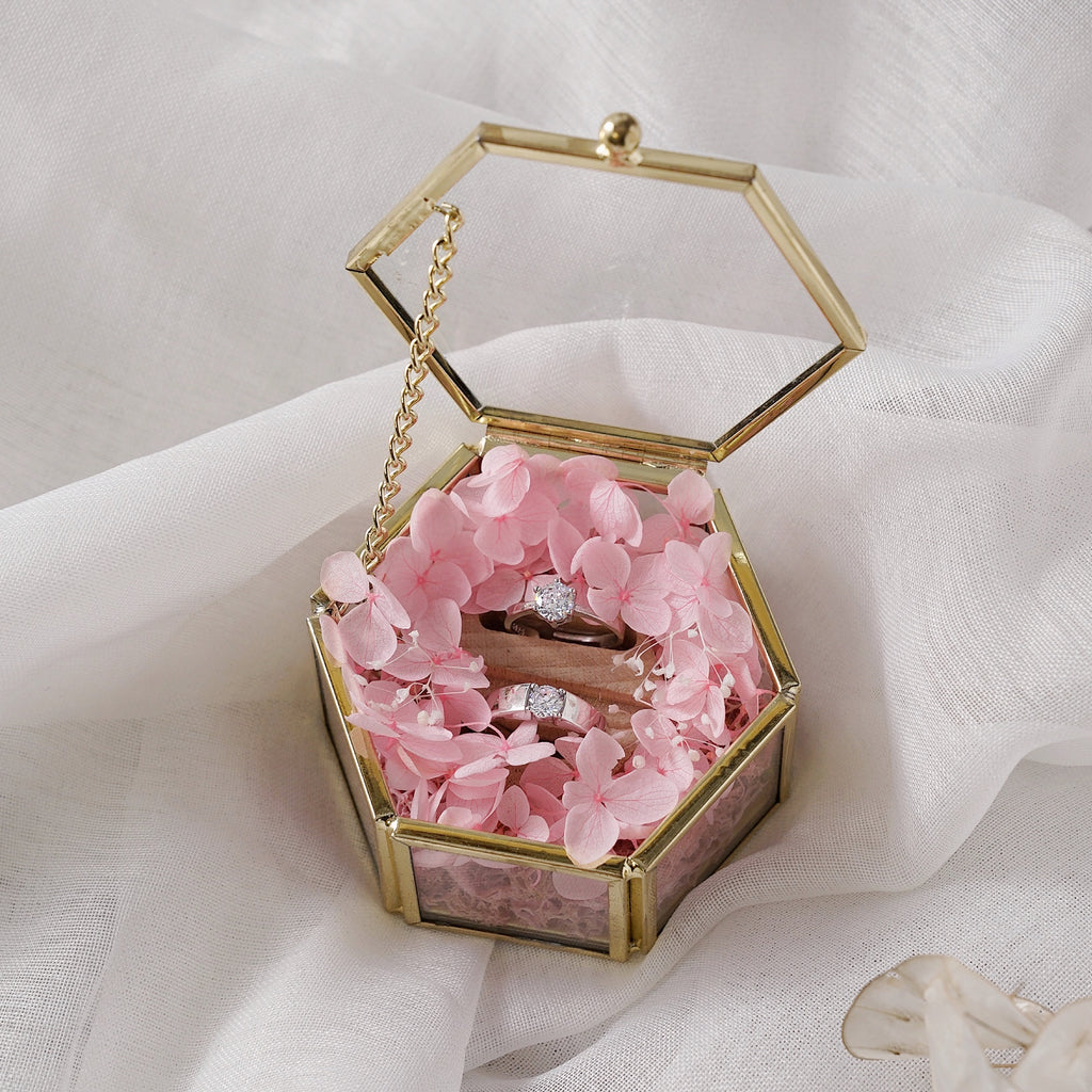 Wedding Ring Box Glass Wedding Ring Holder Ring Bearer Box Ring Bearer Pillows Preserved Floral Pink Glass Ring Box with doule rings holder