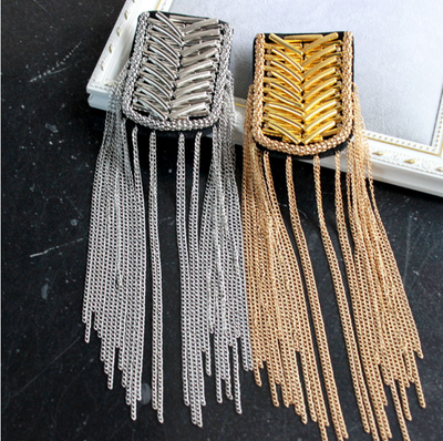 1 Pair Gold and Silver Epaulettes Epaulets,Gold Studs Pads with and Gold Chain ,Tassel festival tassel epaulette jewelery shoulder brooch