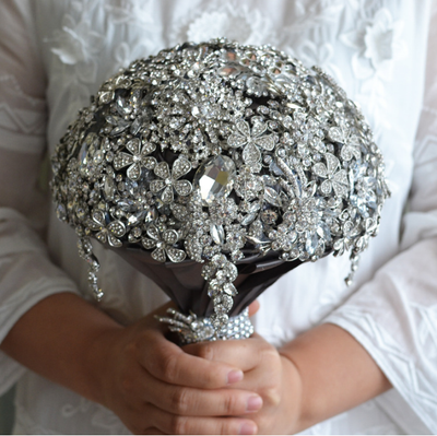 "8.0""W Luxury Wedding Bouquet Crystal Bridal Bouquet Wedding Brooch Bridesmaids Bouquet Silver Jeweled Wedding Bouquet Full jeweled crystal"