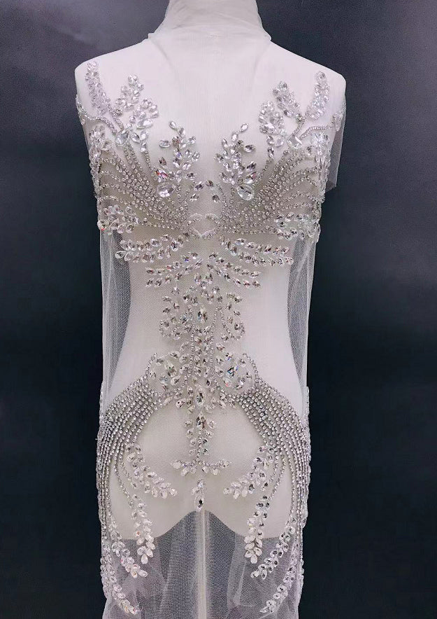 Sparkling Bodice Silver Rhinestone Applique Heavy Beads Motif Diamante Lace Patch sewing on haute couture applique Bridal Wedding Prom Dress