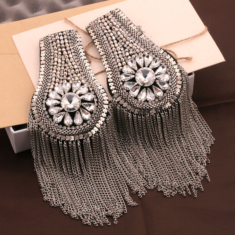 One pair Gold Silver Epaulettes Spiked Epaulet Beaded Rhinestone Sparkle Tassel festival tassel Diamond Shoulder Pad Shoulder Embellishment