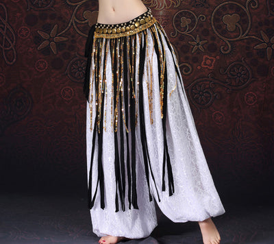 Gold and Black Sequin Beaded Tribal Belly Dance Rectangle Long Tassels Hip Scarf Fringe Wraps with Coins and Sequins