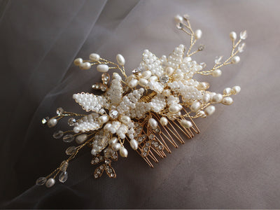Crystal Sparkle Hair Comb, Gold Wedding Hair Comb, Bridal Comb Pearl Hair Comb, Floral Hair Comb, Bridal Hairpiece Rhinestone Hair Combs