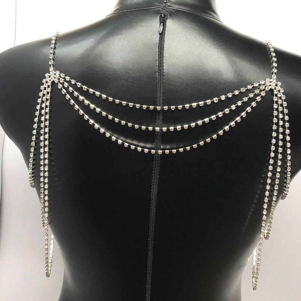 Shoulder necklace crystal bridal rhinestone necklace shoulder chain necklace diamond necklace wedding bridal straps crystal bolero for bride