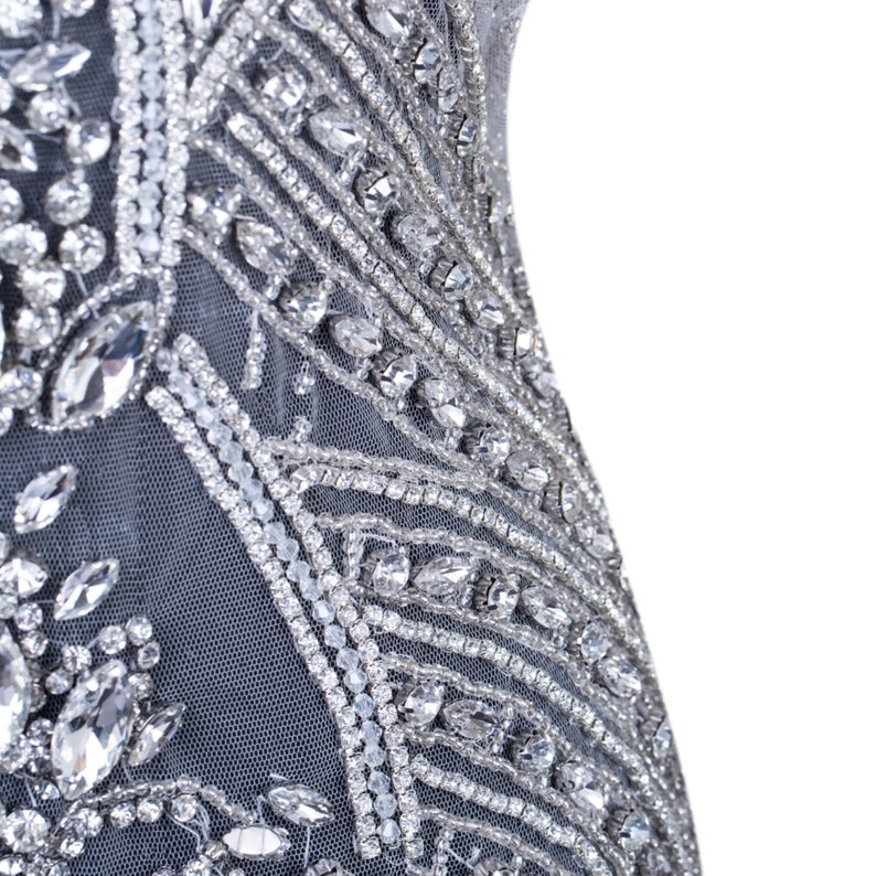 Luxurious Rhinestone full bodice applique Large crystal bodice Motif bead applique panel Diamante sew on Lace patch for prom haute couture