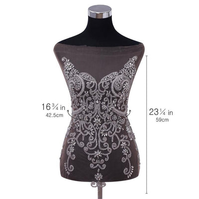 Sparkle Pretty rhinestone patches flower beaded bodice applique crystals applique heavy bead applique bodice for prom dress haute couture