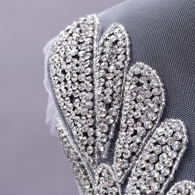 Large Size bodice applique jewelry Dress Panel Patch, Full Body Hand-made Rhinestone Applique Bodice Patches For Gown Prom Dress