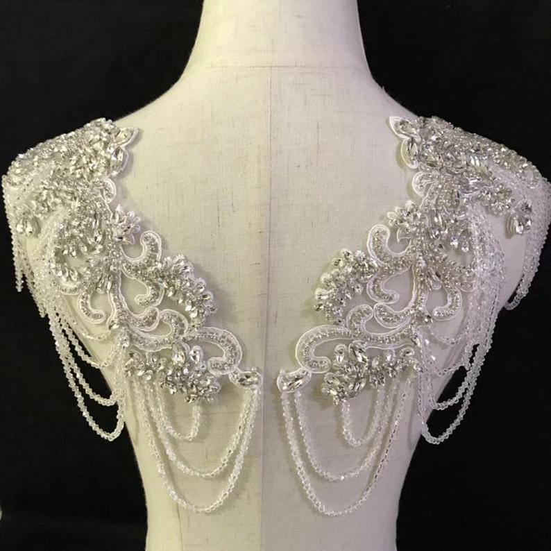 Embroidery Bodice Lace Applique 3D Flower Heavy Beads Acrylic Rhinestone Motif Flower Lace Patch swing on Patch Bridal Wedding Prom Dress