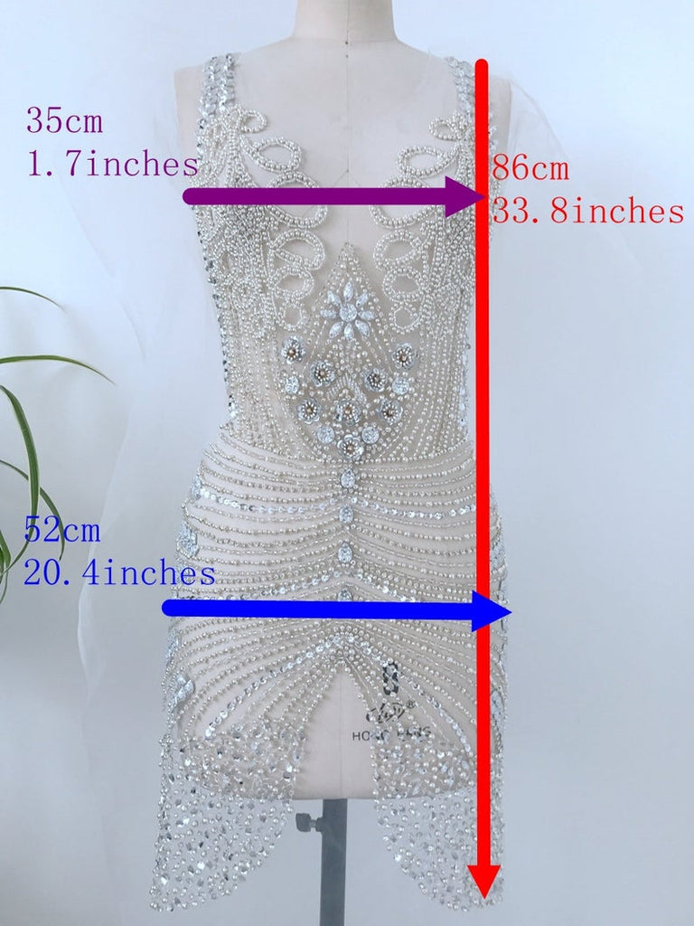 Hand Sewing Wedding Dresses Appliques Bling Lace applique crystal bodice Evening Prom Dress patch Heavy beaded sequin Applique panel Classic