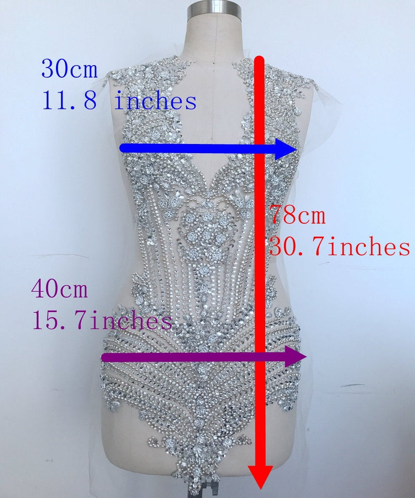 Gorgeous Rhinestone Applique On Mesh Bodice Patch Heavy Beaded Applique Rhinestone Applique Bodice Patches for weddings, dances, evening