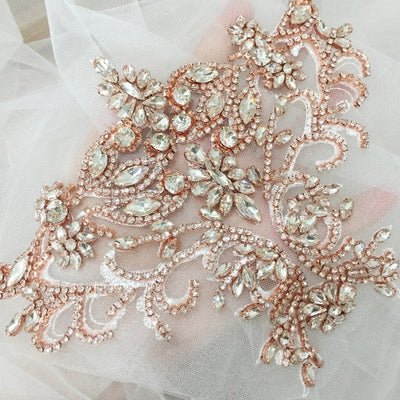 Rhinestone Crystal appliques, tulle crystale beading lace collar with Lace Backingfor Wedding Dresses Belt Bridal Cover up 15x20