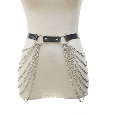 Black Leather Chain Belt Goth Punk body chain skirt  waist strap adjustable festival girls body harness raver dance  jewelry