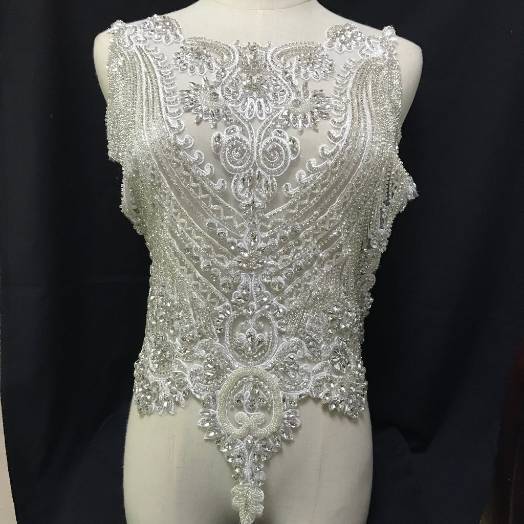 Sparkling Bodice Silver Rhinestone Applique Design Full Length Body Hand-made Crystal Lace Applique Bodice Patches for Wedding Prom Dress