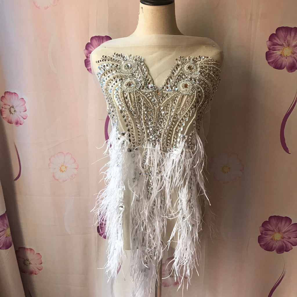 Sparkling glass stone Bodice Rhinestone Applique Heavy Beads Motif Diamante Feather Lace patch piece sewing on Prom Bridal Wedding Dress