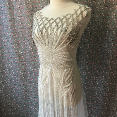 Stunning Design Silver Bridal Unique Design Dress Size Full Length Luxurious Body Hand-made Rhinestone Appliqué Bodice Patches