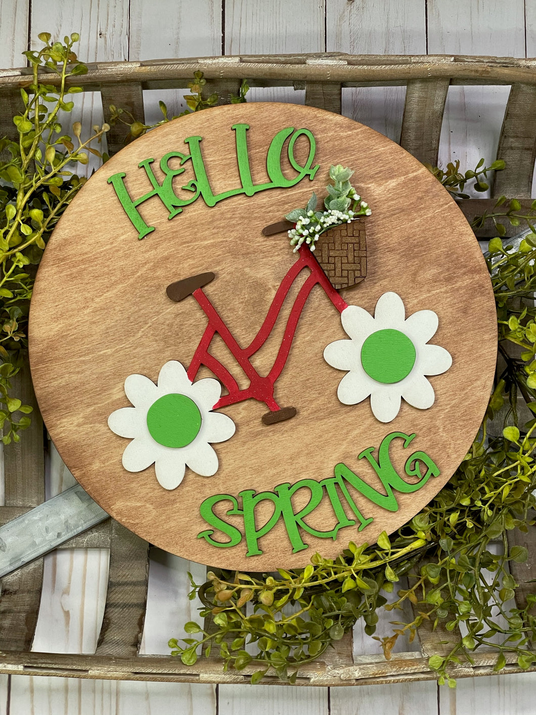 Hello Spring Bike Sign