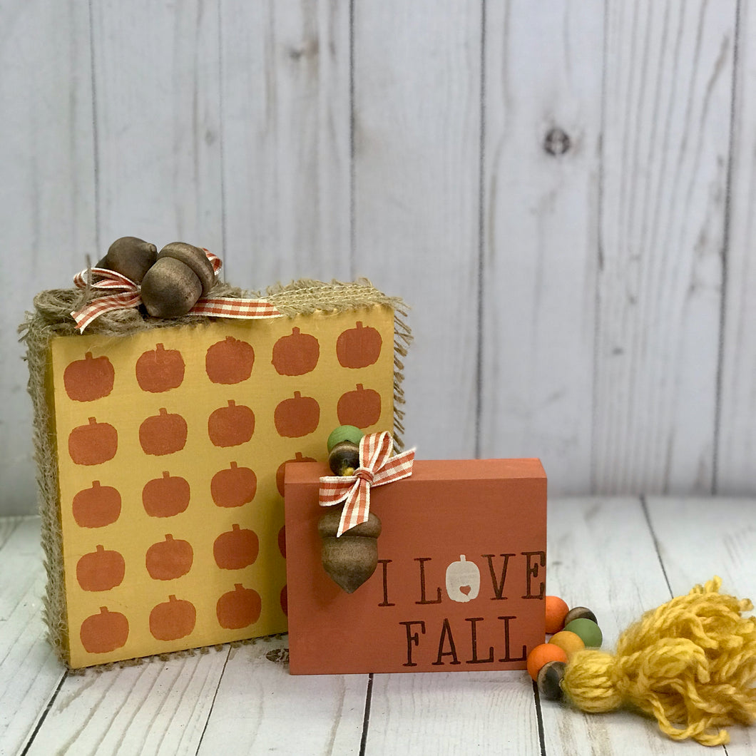 Fall Wooden Blocks & Mini Garland
