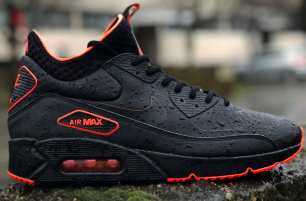 NIKE SHOES MENS AIR MAX 90 ULTRA MID WINTER BOOT SE BLACK TOTAL CRIMSON COOL GREY