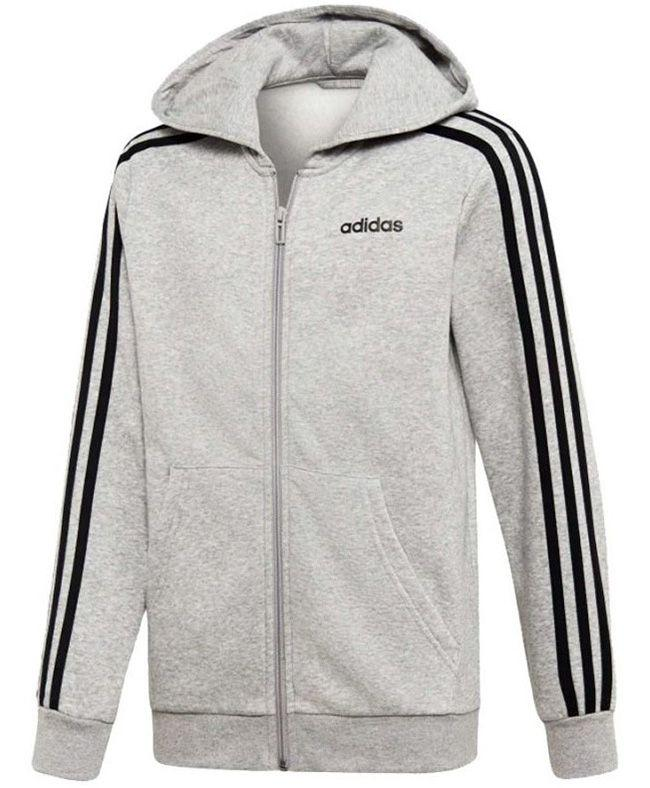 Adidas Kids Essential 3 Stripe Full Zip Hoody Medium Grey Heather