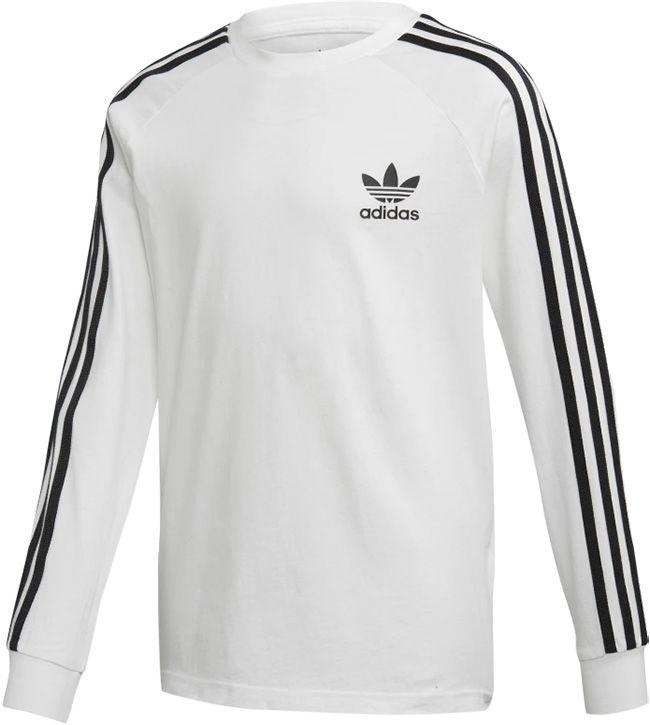 Adidas Originals Juniors 3 Stripes Long Sleeve T Shirt White Black