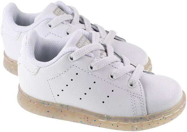 Adidas Originals Trainers Infants Stan Smith EL White Grey Glitter