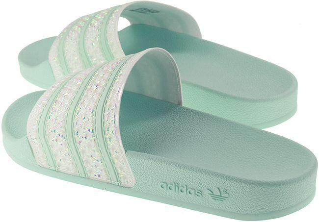 Adidas Originals Womens Adilette Slides Mint Glitter