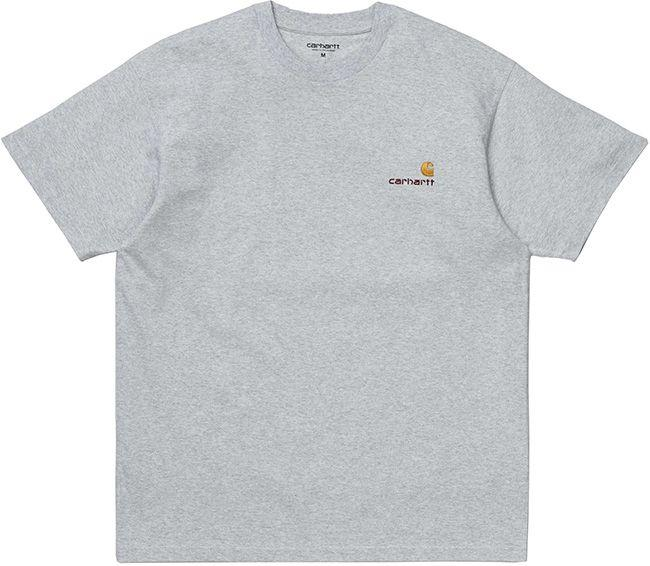 Carhartt WIP Mens American Script T Shirt Ash Heather
