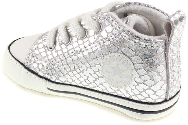 Converse Shoes Infants First Star Hi Crib Silver Egret Black