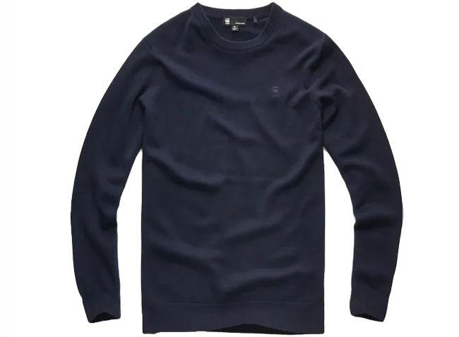 G Star Raw Core R Knit Long Sleeve Dark Saru Blue