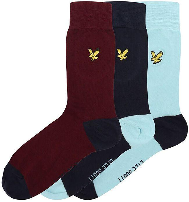 Lyle and Scott Accessories Kennedy Socks 3 Pack Navy Sky Burgundy