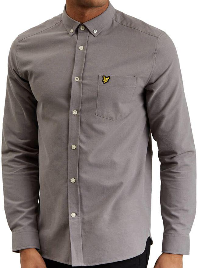 Lyle and Scott Mens Long Sleeve Oxford Shirt Pelican Grey
