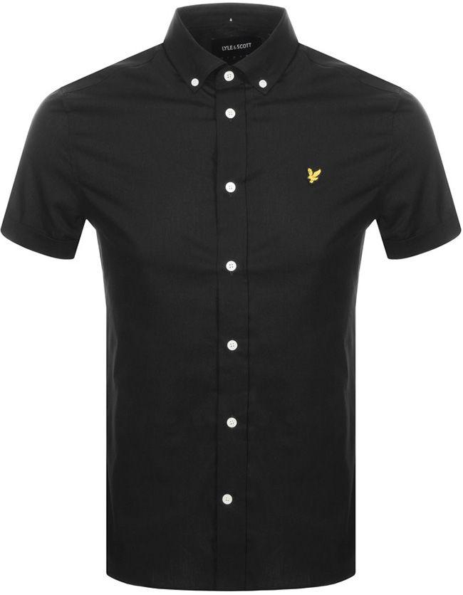 Lyle and Scott Mens Short Sleeve Stretch Poplin Shirt True Black
