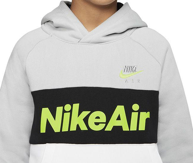 Nike Kids Sportswear Air Pullover Hoodie Lite Smoke Grey Black White