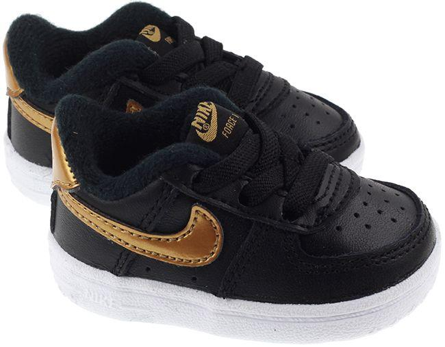 Nike Shoes Infants Crib Air Force 1 Black Metallic Gold