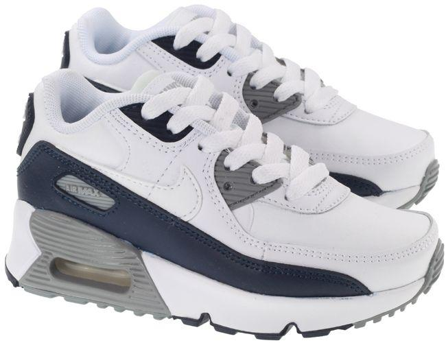 Nike Shoes Kids Air Max 90 Leather White Obsidian