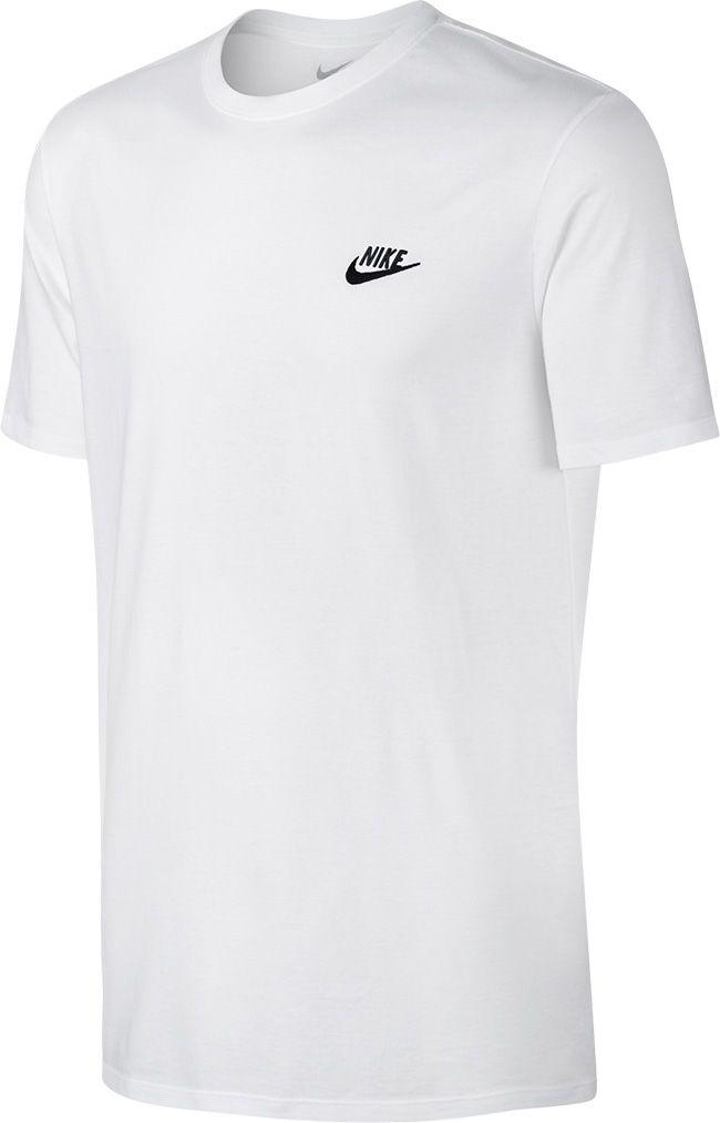 Nike Mens Sportswear Club Embroided T Shirt White Black