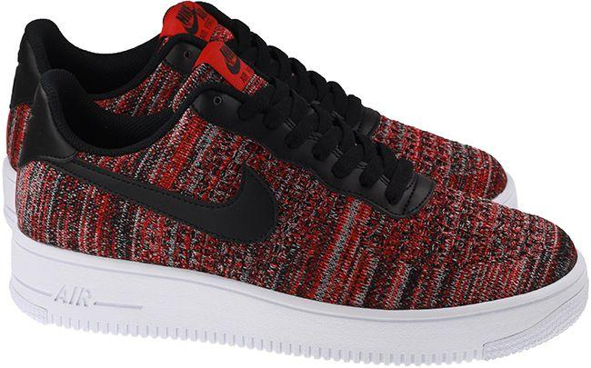 Nike Shoes Mens Air Force 1 Flyknit 2.0 University Red Black