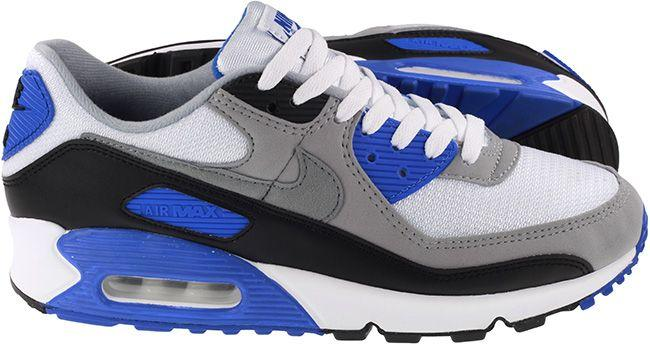 Nike Shoes Mens Air Max 90 White Particle Grey Hyper Royal