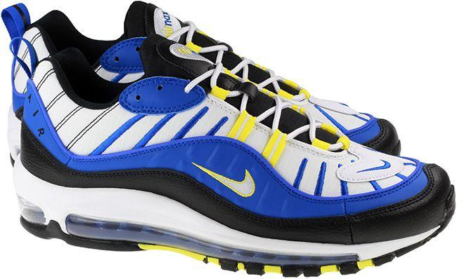 Nike Shoes Mens Air Max 98 Racer Blue White Black Dynamic Yellow