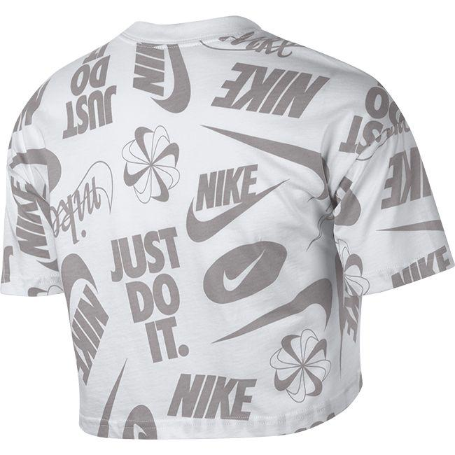Nike Womens Sportswear Essential Wild Crop Top White Atmosphere Grey