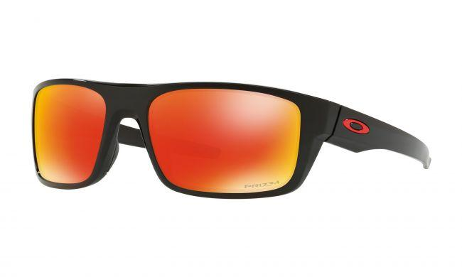 Oakley Mens Sunglasses Drop Point Polished Black Prizm Ruby