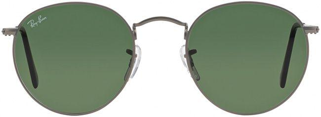 Ray-Ban Sunglasses Round Metal Matte Gunmetal Crystal Green